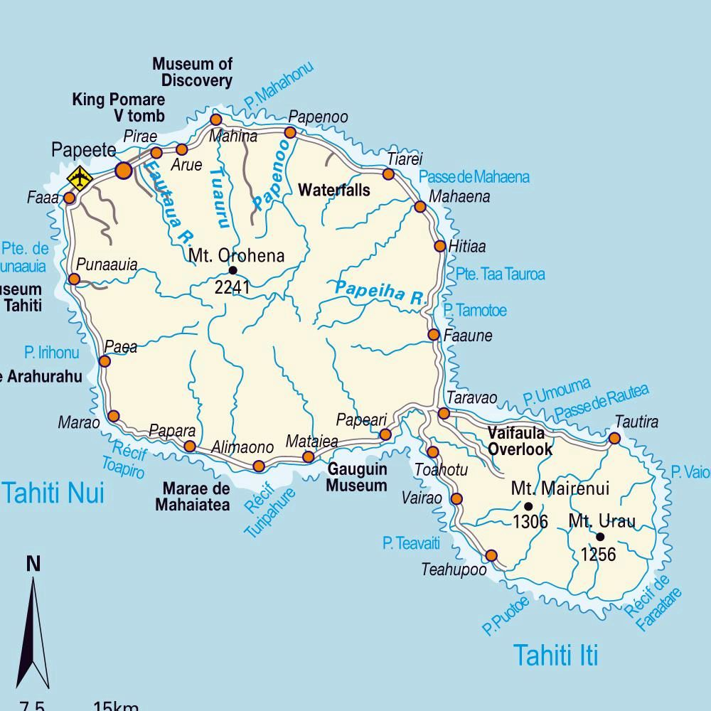 Large Tahiti Island Maps for Free Download and Print | High ...