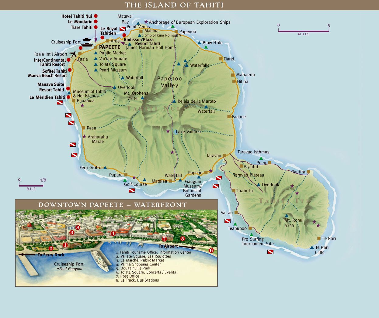 large tahiti island maps for free download and print  high  - large map of tahiti island