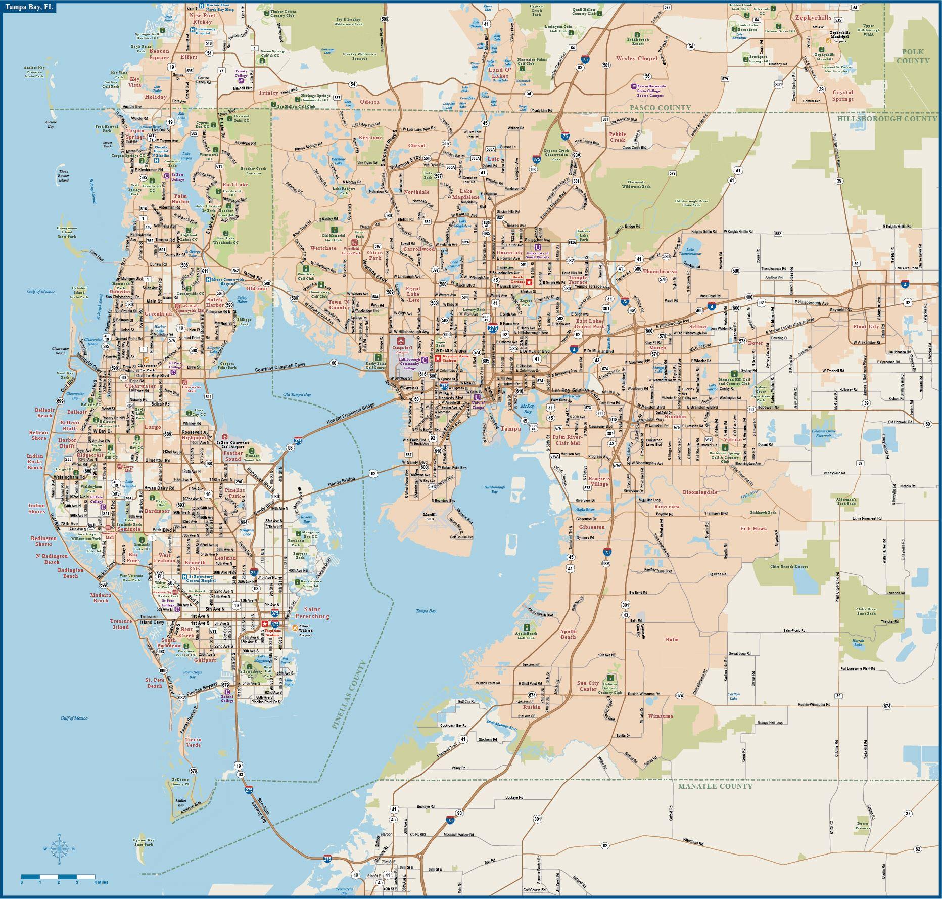 mapas detallados de tampa para descargar gratis e imprimir