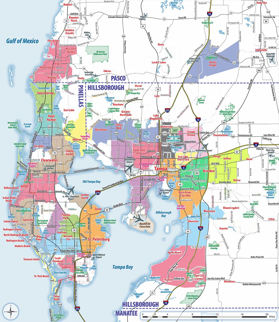 Map Of Tampa Bay Area Large Tampa Maps for Free Download and Print | High Resolution and