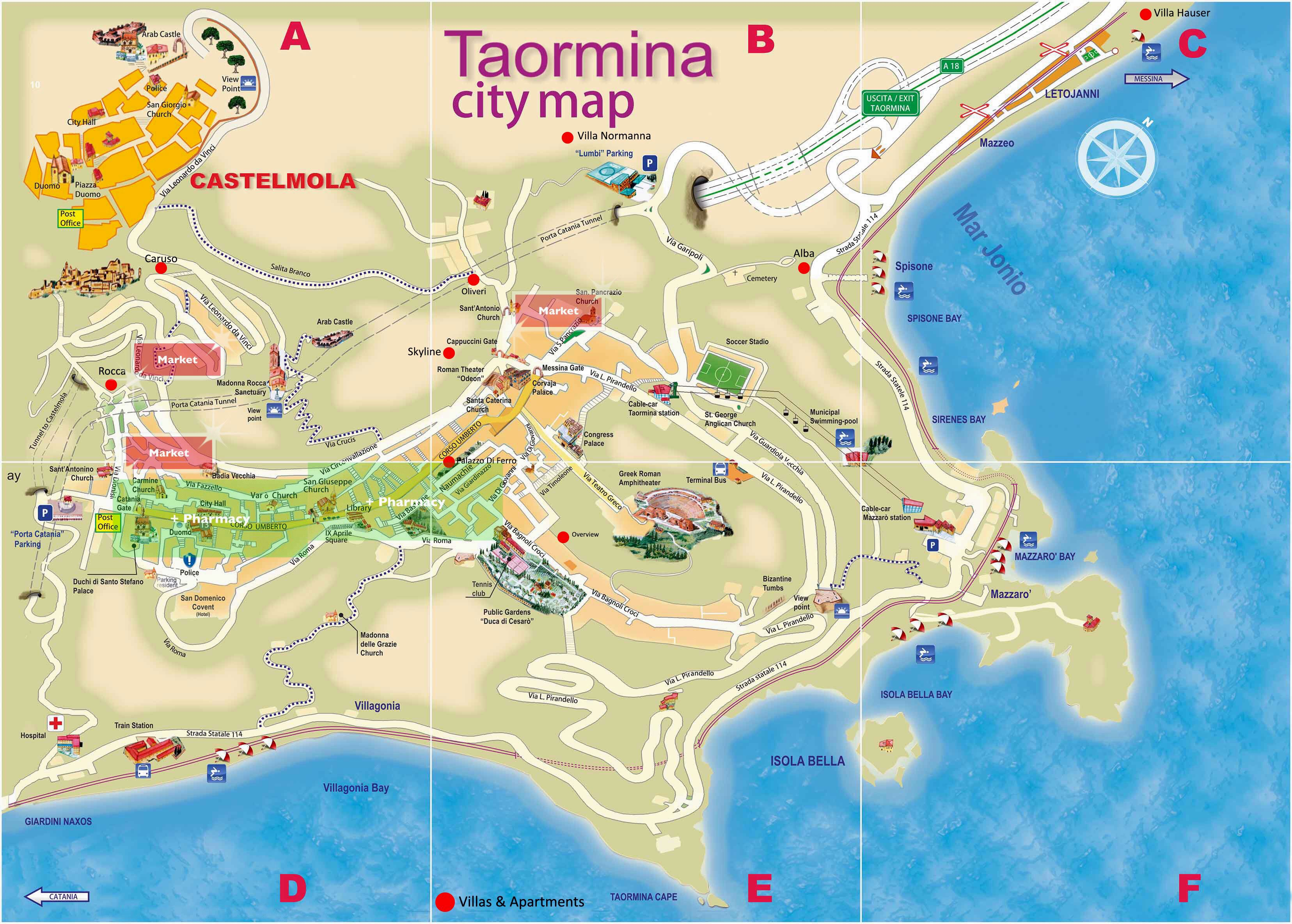 Large Taormina Maps for Free Download and Print | High Resolution