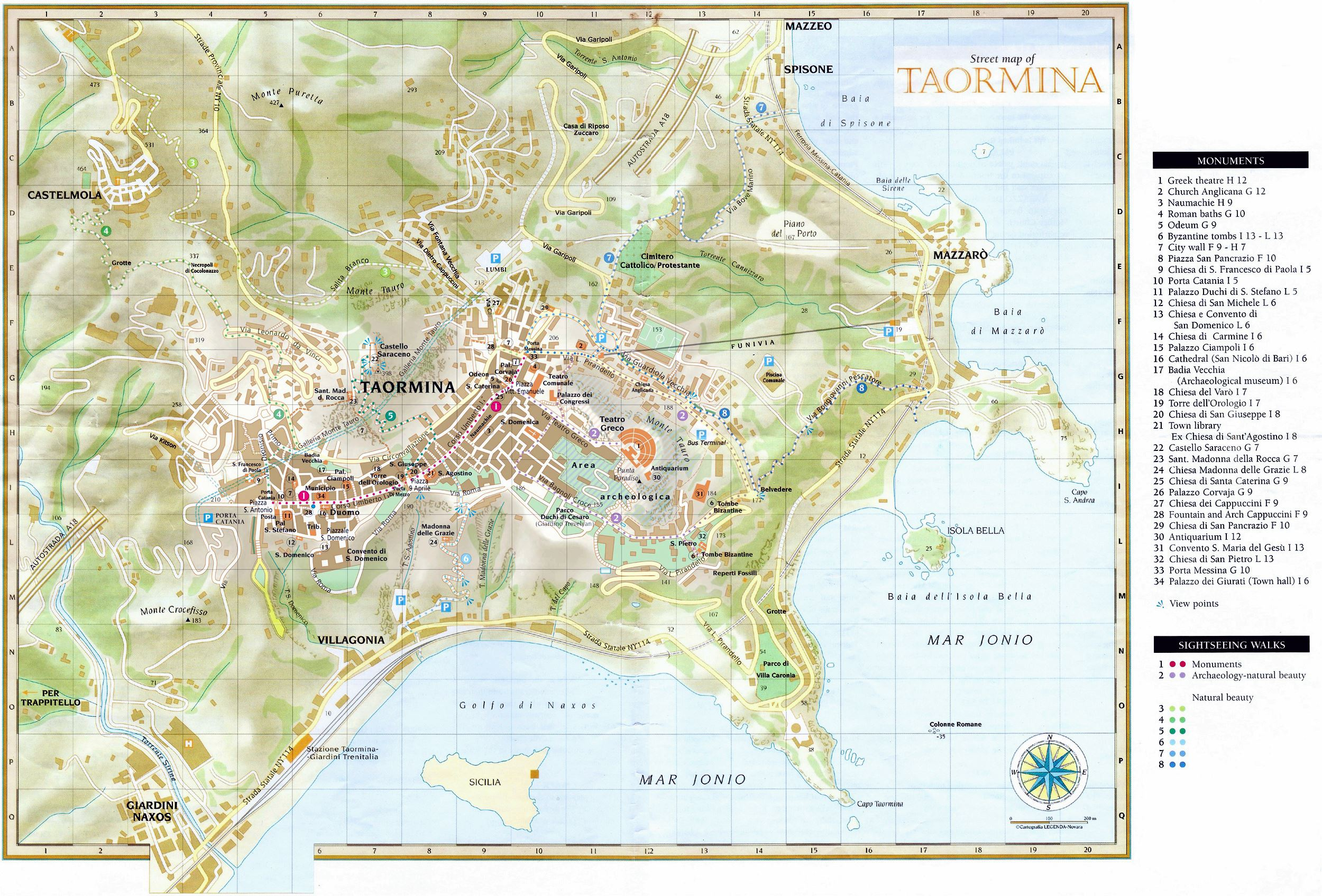 Map Of Sicily Taormina Large Taormina Maps for Free Download and Print | High Resolution
