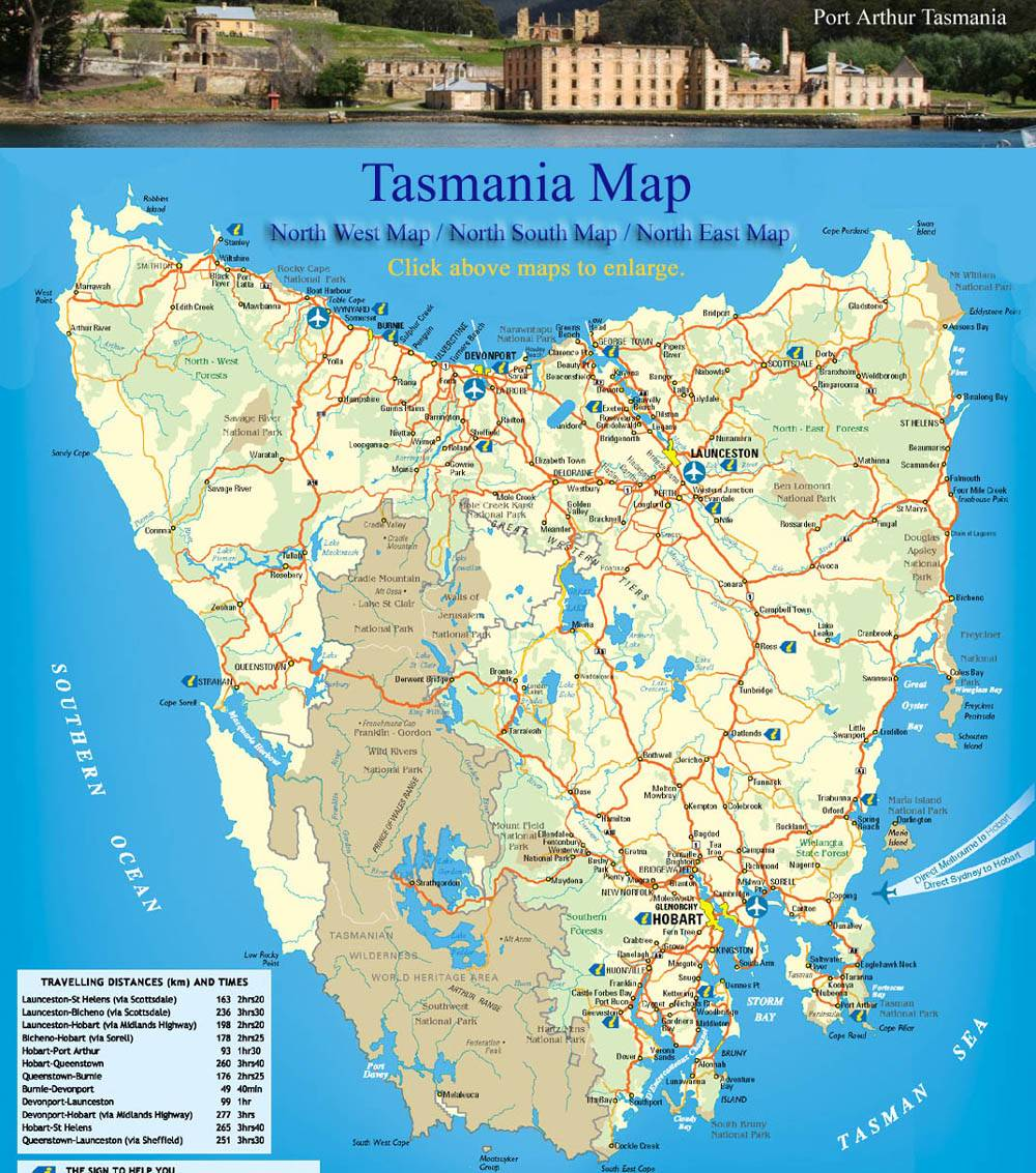 Large Tasmania Maps For Free Download And Print HighResolution - Australian road maps free