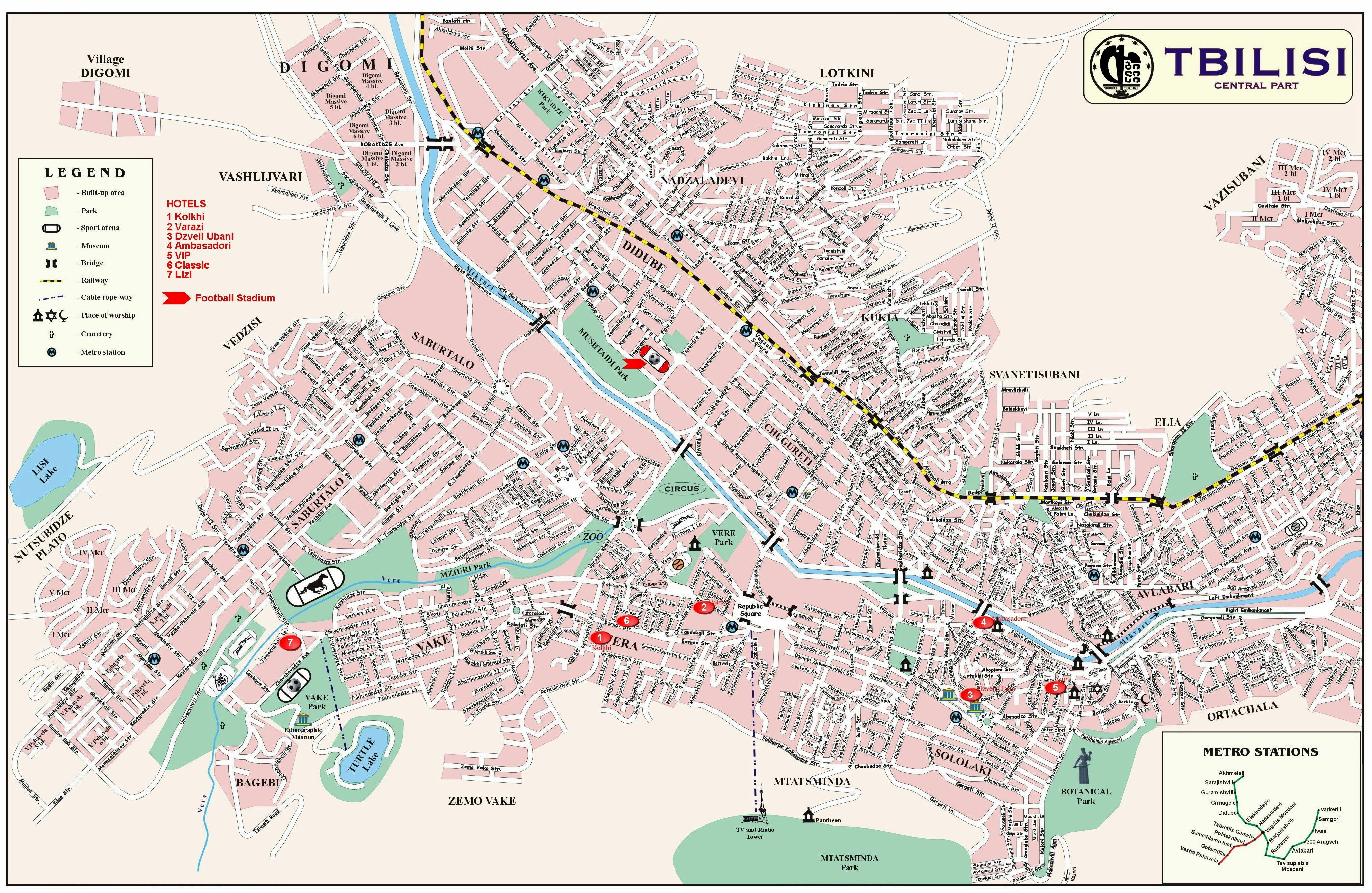 Large Tbilisi Maps for Free Download and Print | High-Resolution and
