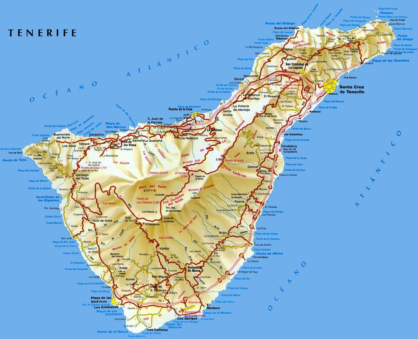 Map Of Spain Tenerife.Large Tenerife Maps For Free Download And Print High Resolution