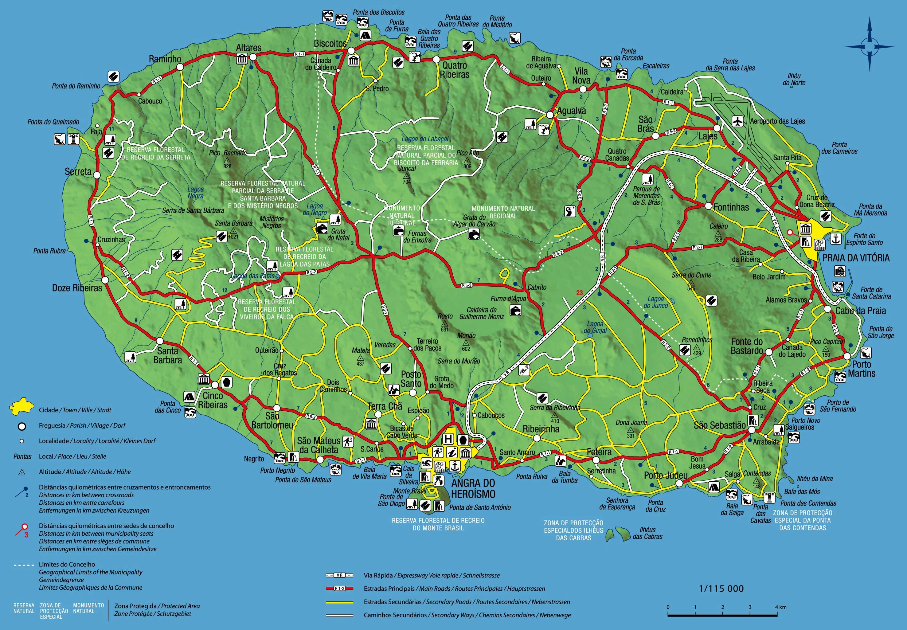 mapa terceira Large Terceira Island Maps for Free Download and Print | High  mapa terceira