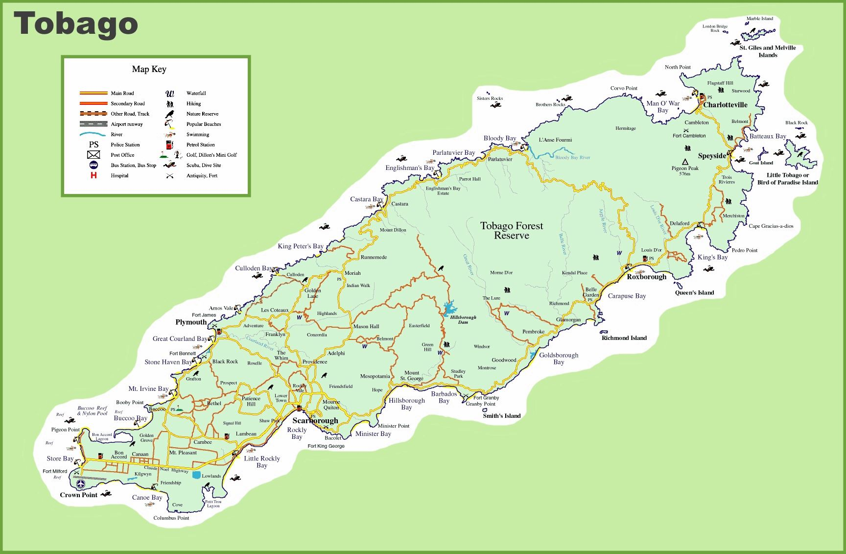Large Tobago Island Maps for Free Download and Print High