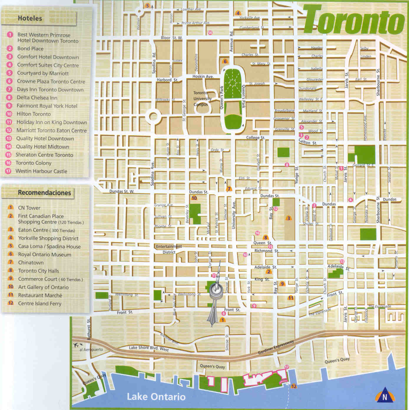 Large Toronto Maps for Free Download – Tourist Attractions Map In Canada