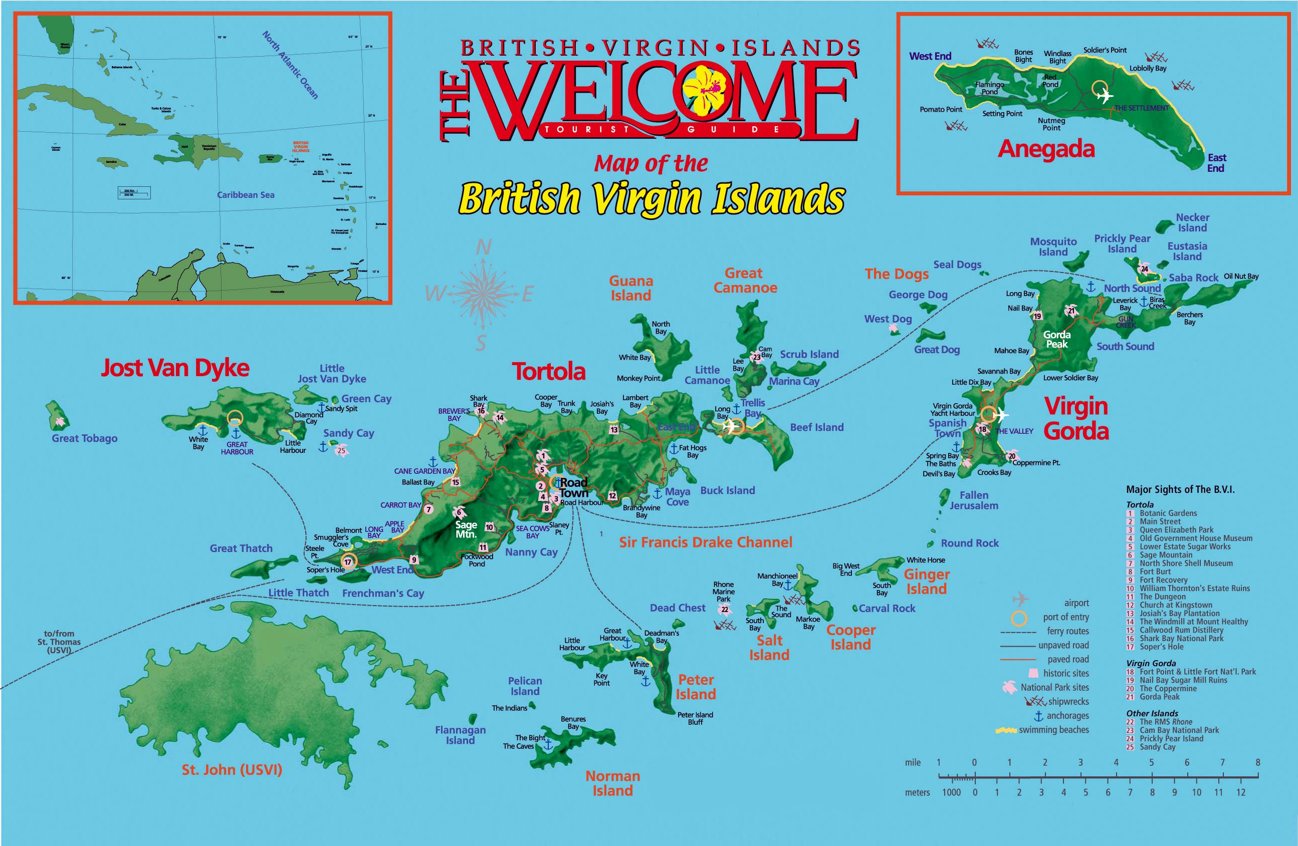 Virgin map tortola gorda