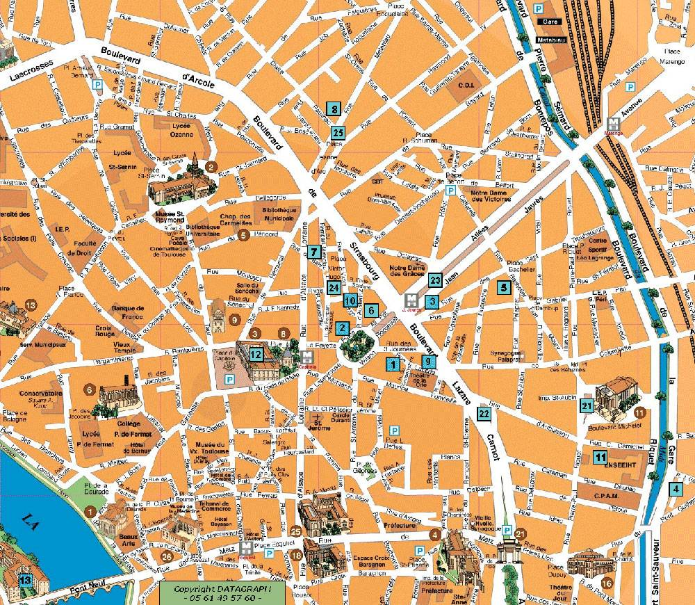 toulouse mapa Large Toulouse Maps for Free Download and Print | High Resolution  toulouse mapa
