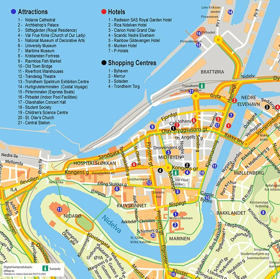 norwegen sehenswürdigkeiten karte Stadtplan von Trondheim | Detaillierte gedruckte Karten von  norwegen sehenswürdigkeiten karte