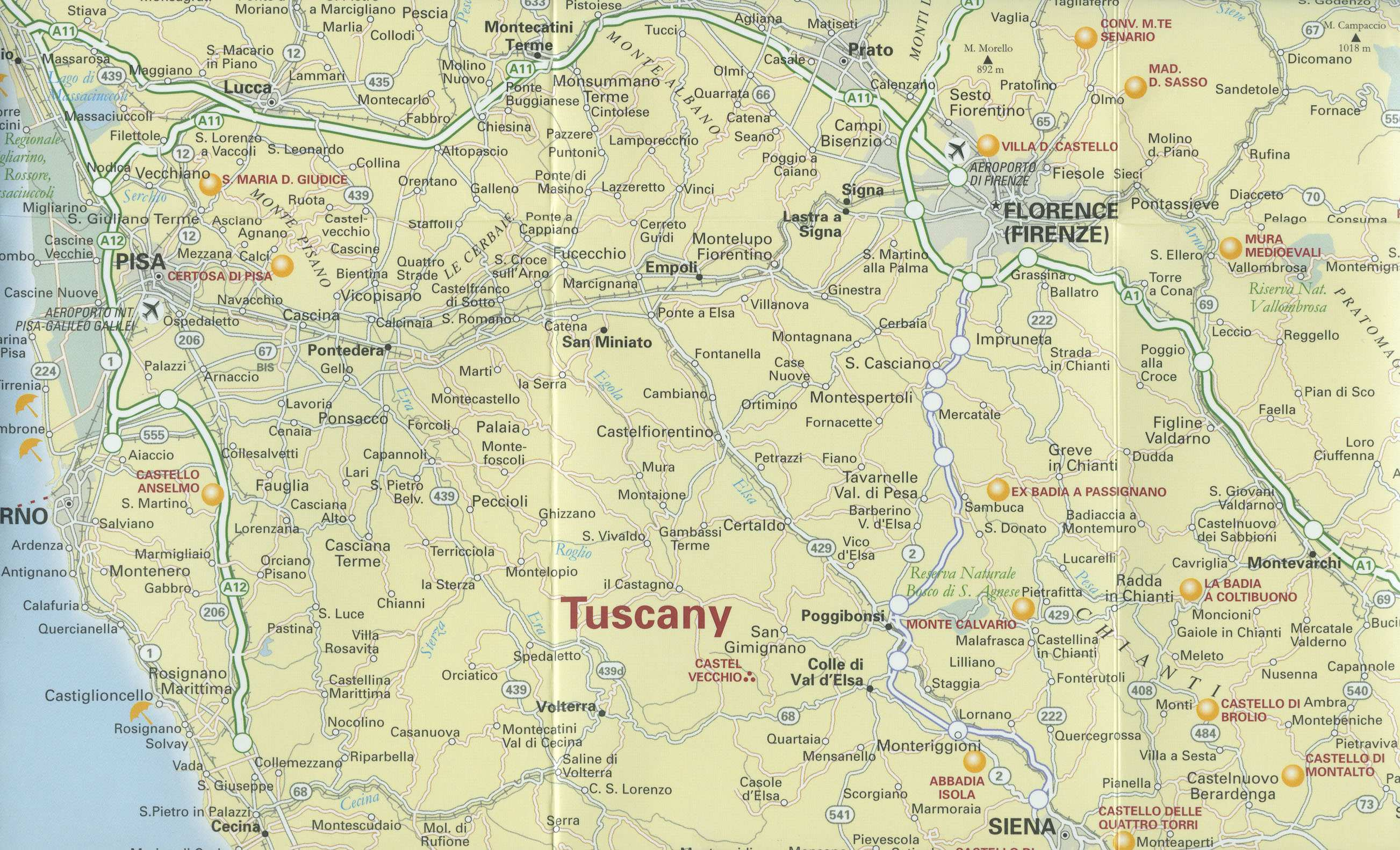 Map Of Tuscany Large Tuscany Maps for Free Download and Print | High Resolution  Map Of Tuscany
