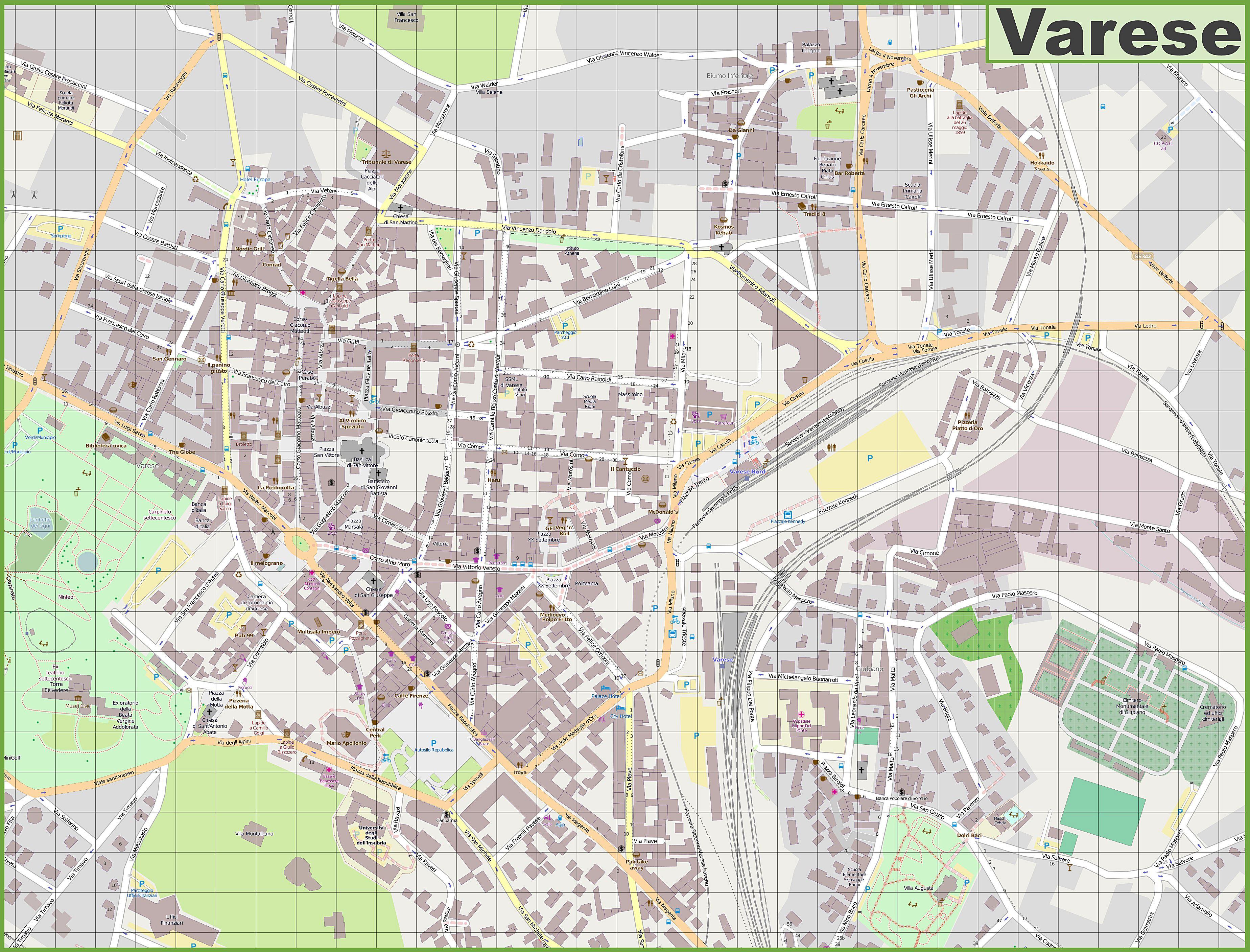 Varese Italien stadtplan varese detaillierte gedruckte karten varese