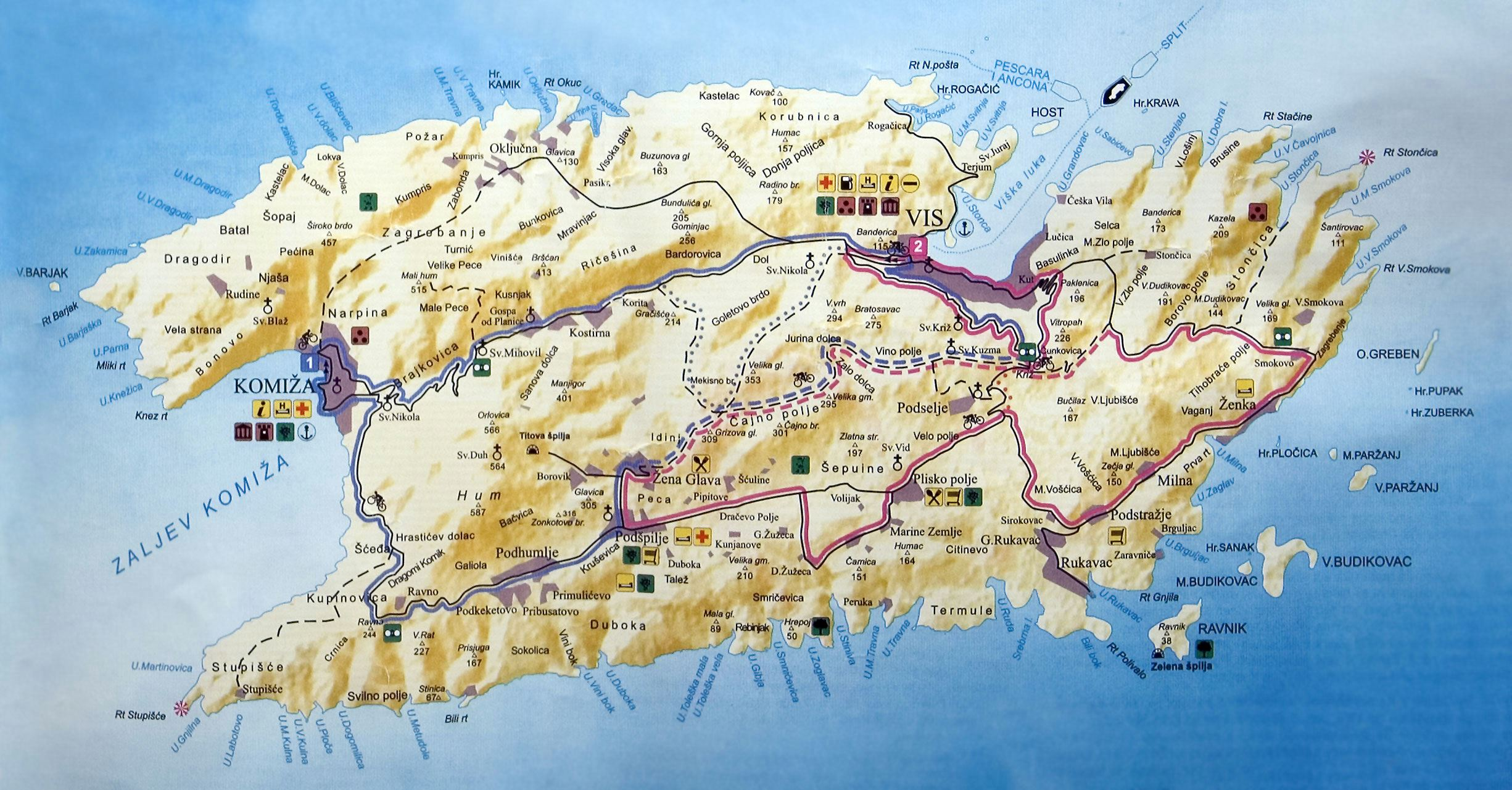Vis Island Map Large Vis Island Maps for Free Download and Print | High