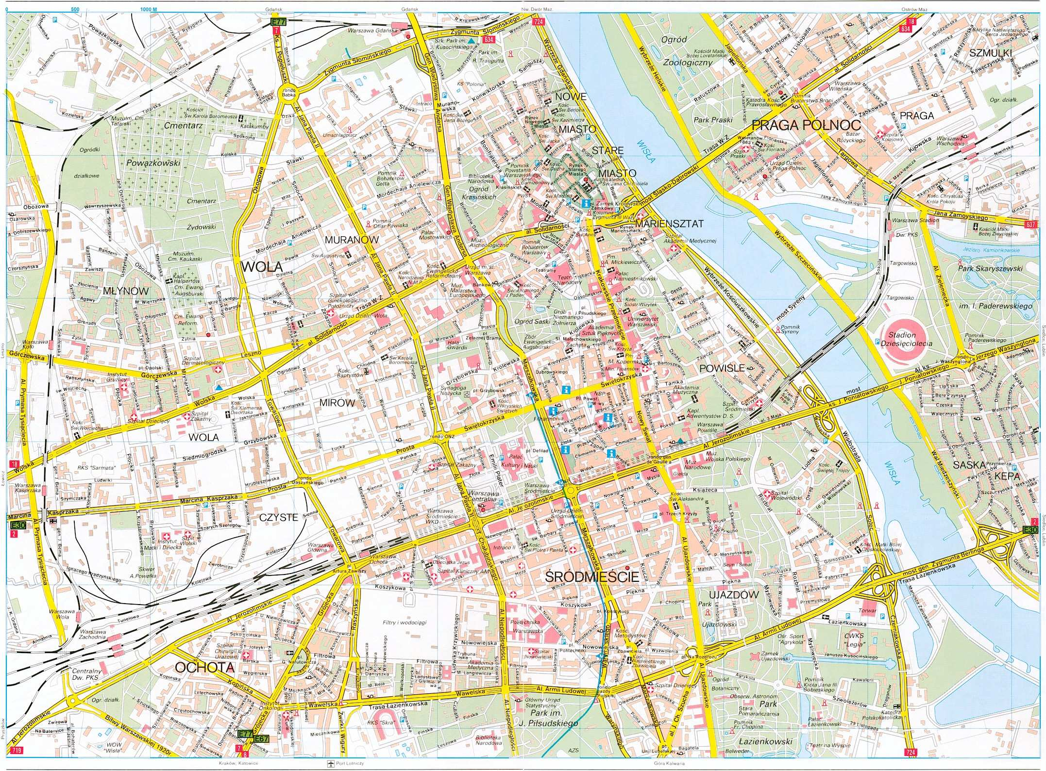 Large Warsaw Maps for Free Download – Poland Tourist Attractions Map