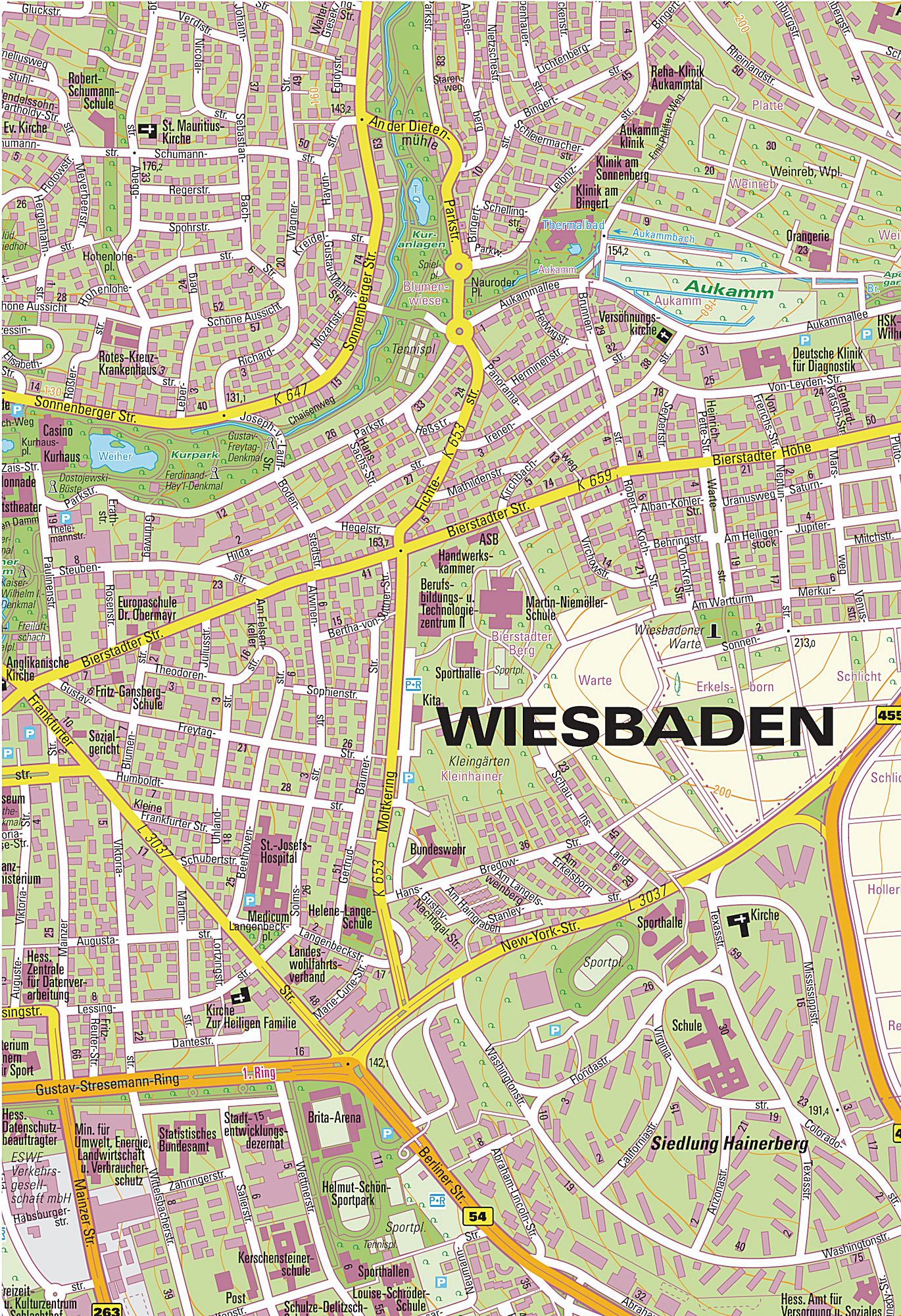 Large Wiesbaden Maps for Free Download and Print HighResolution