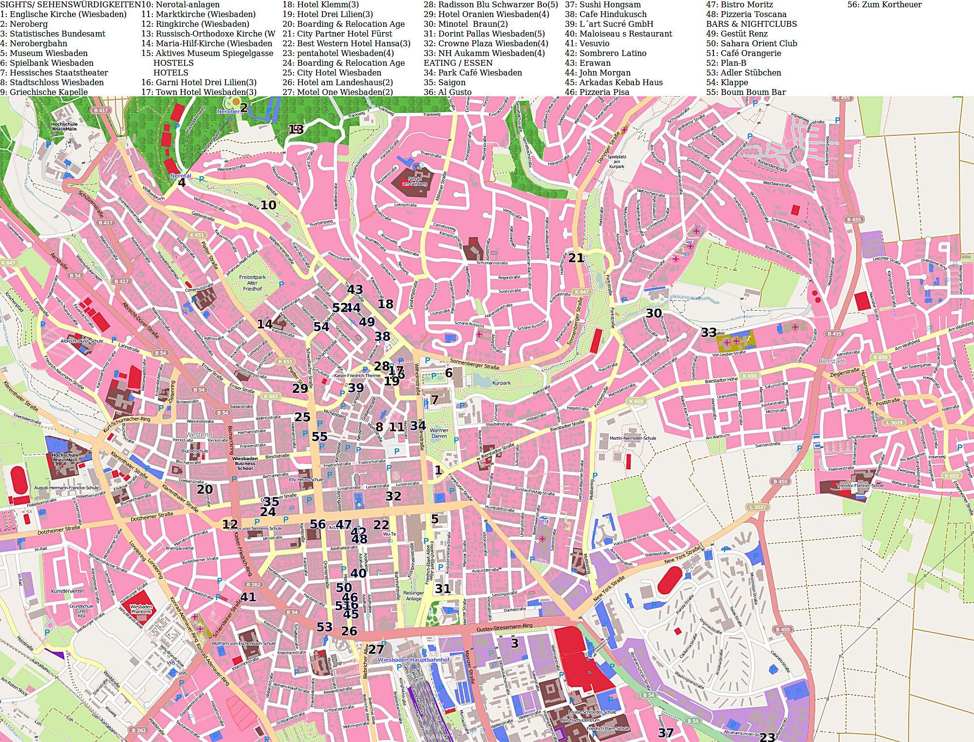 Wiesbaden Karte.Stadtplan Von Wiesbaden Detaillierte Gedruckte Karten Von