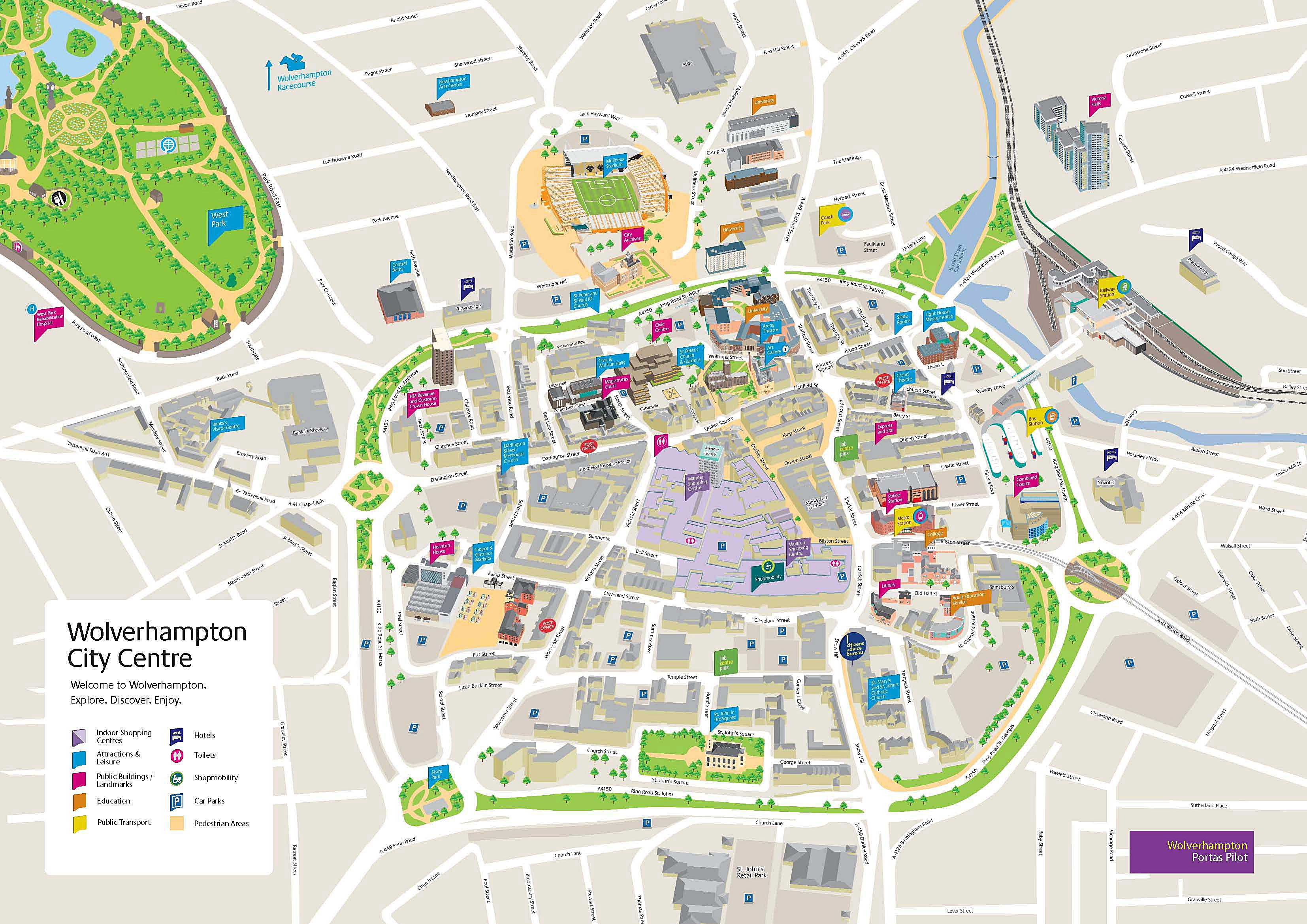 Large Wolverhampton Maps for Free Download and Print High