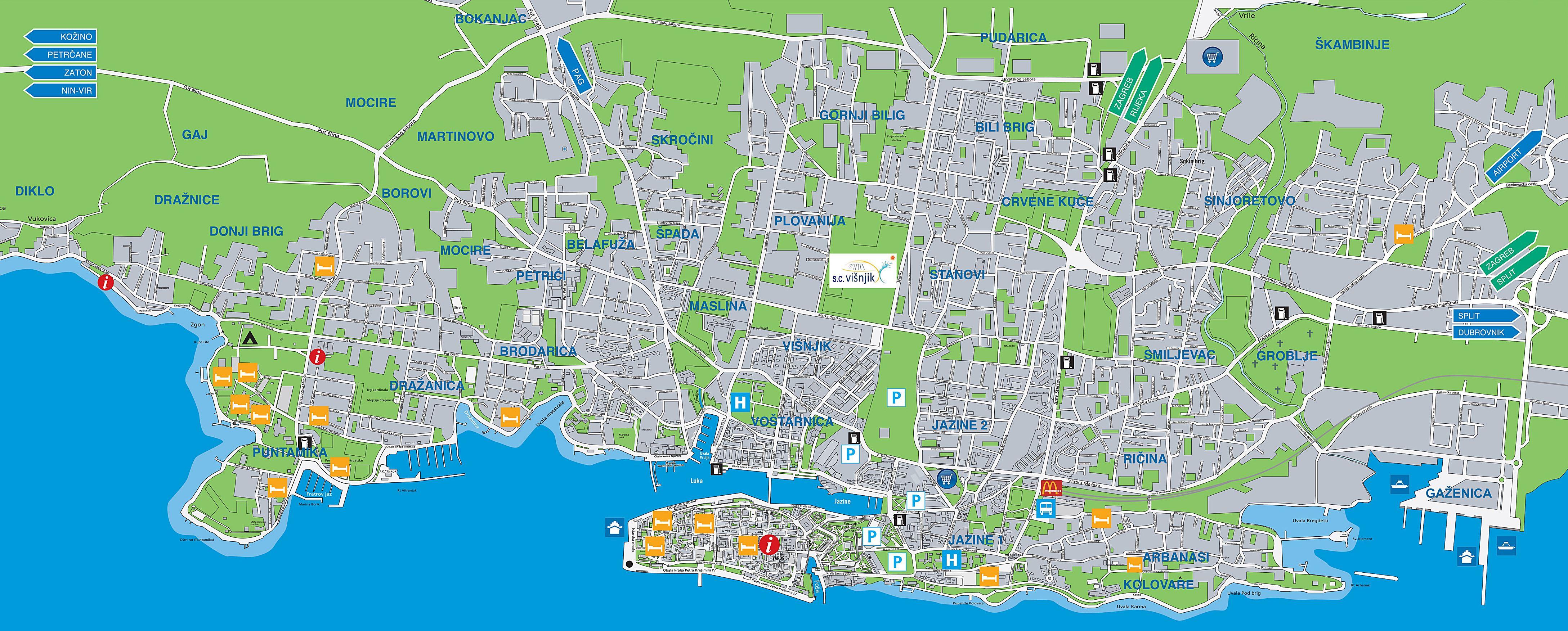 zadar kroatien karte Stadtplan von Zadar | Detaillierte gedruckte Karten von Zadar  zadar kroatien karte