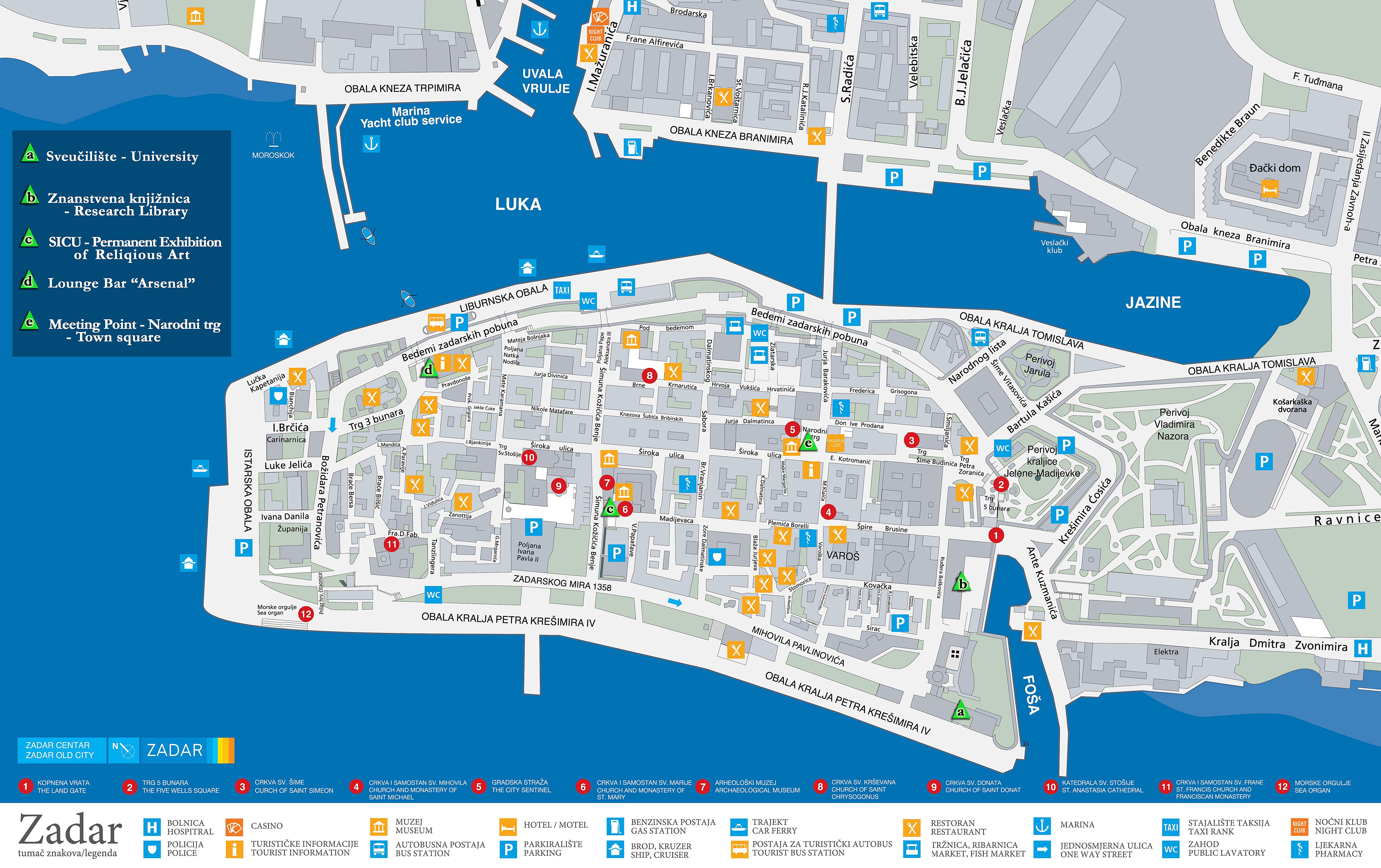Istrien Karte Zum Ausdrucken.Stadtplan Von Zadar Detaillierte Gedruckte Karten Von