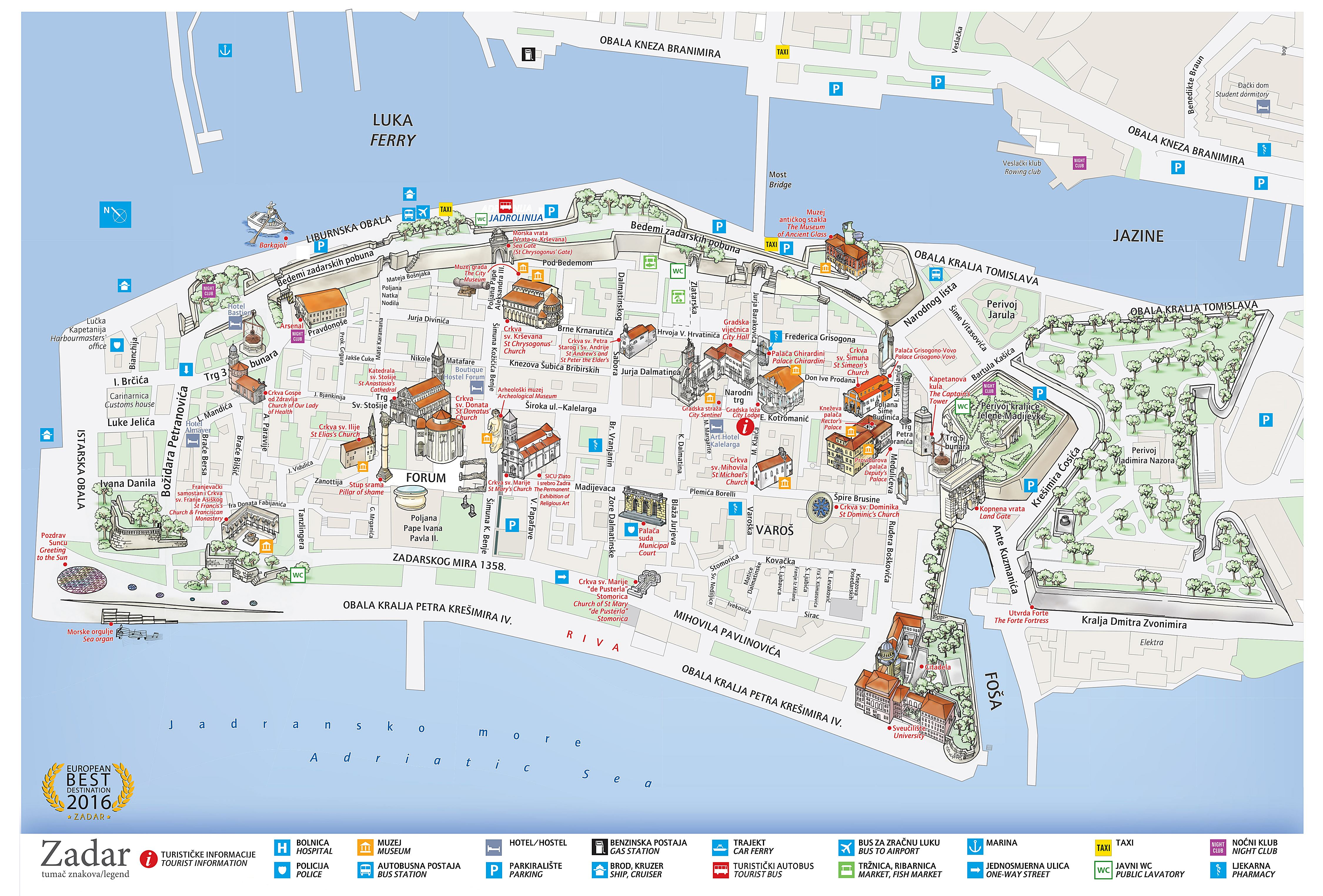 zadar mapa Large Zadar Maps for Free Download and Print | High Resolution and  zadar mapa