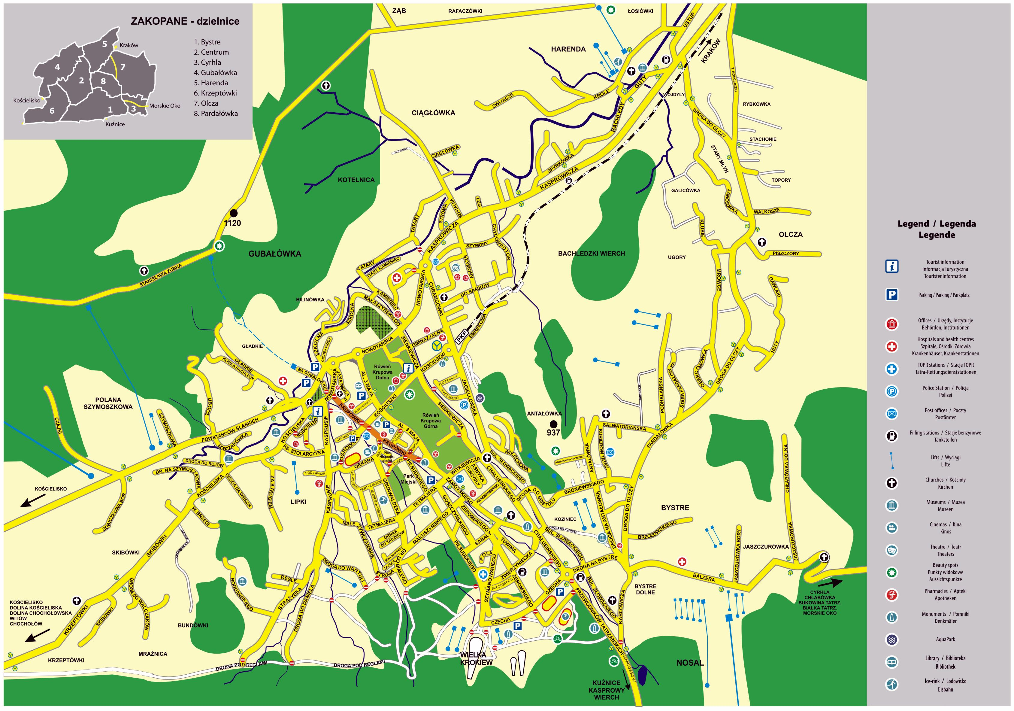 Large Zakopane Maps for Free Download and Print | High Resolution