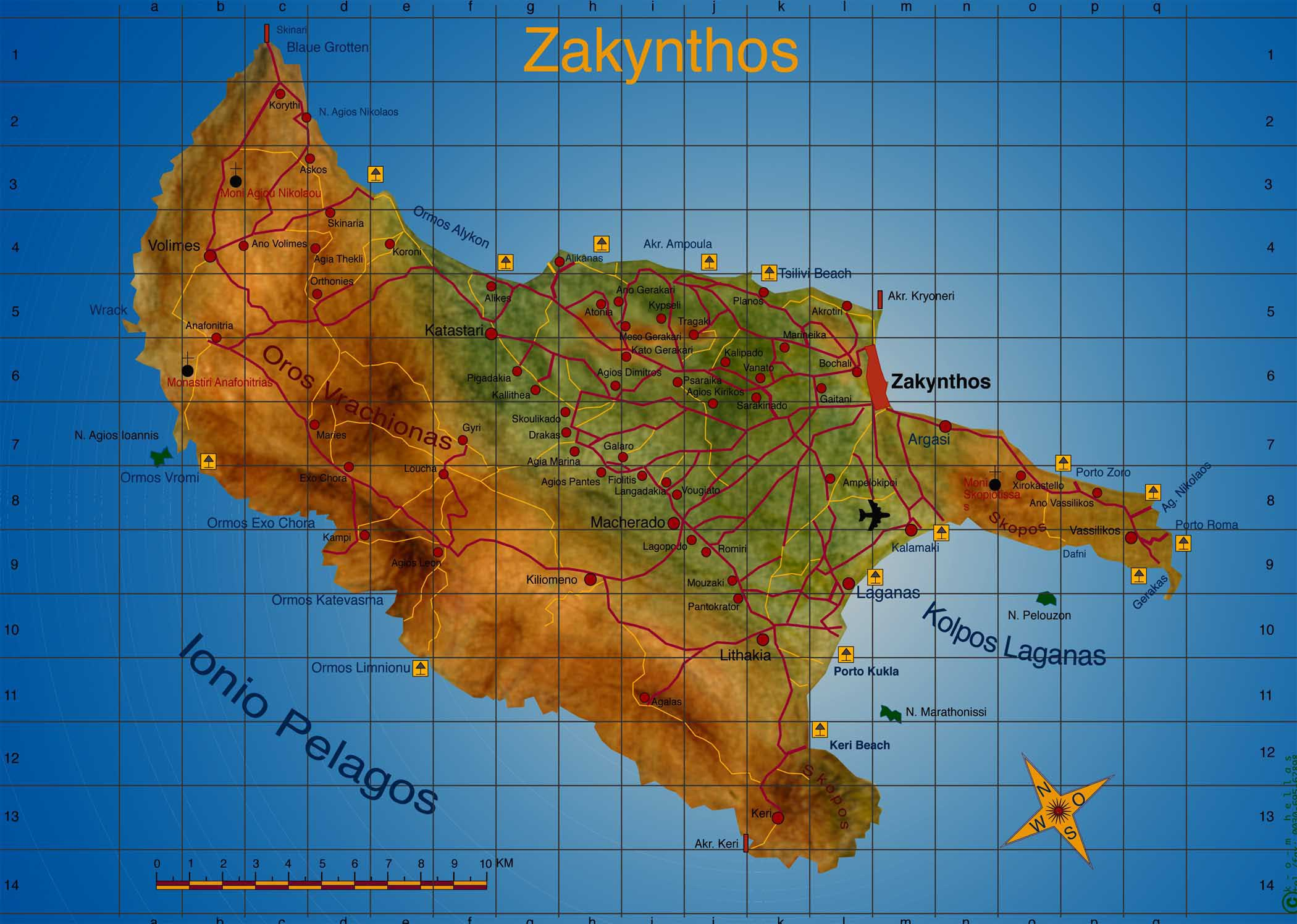 Large Zakynthos Maps for Free Download and Print HighResolution