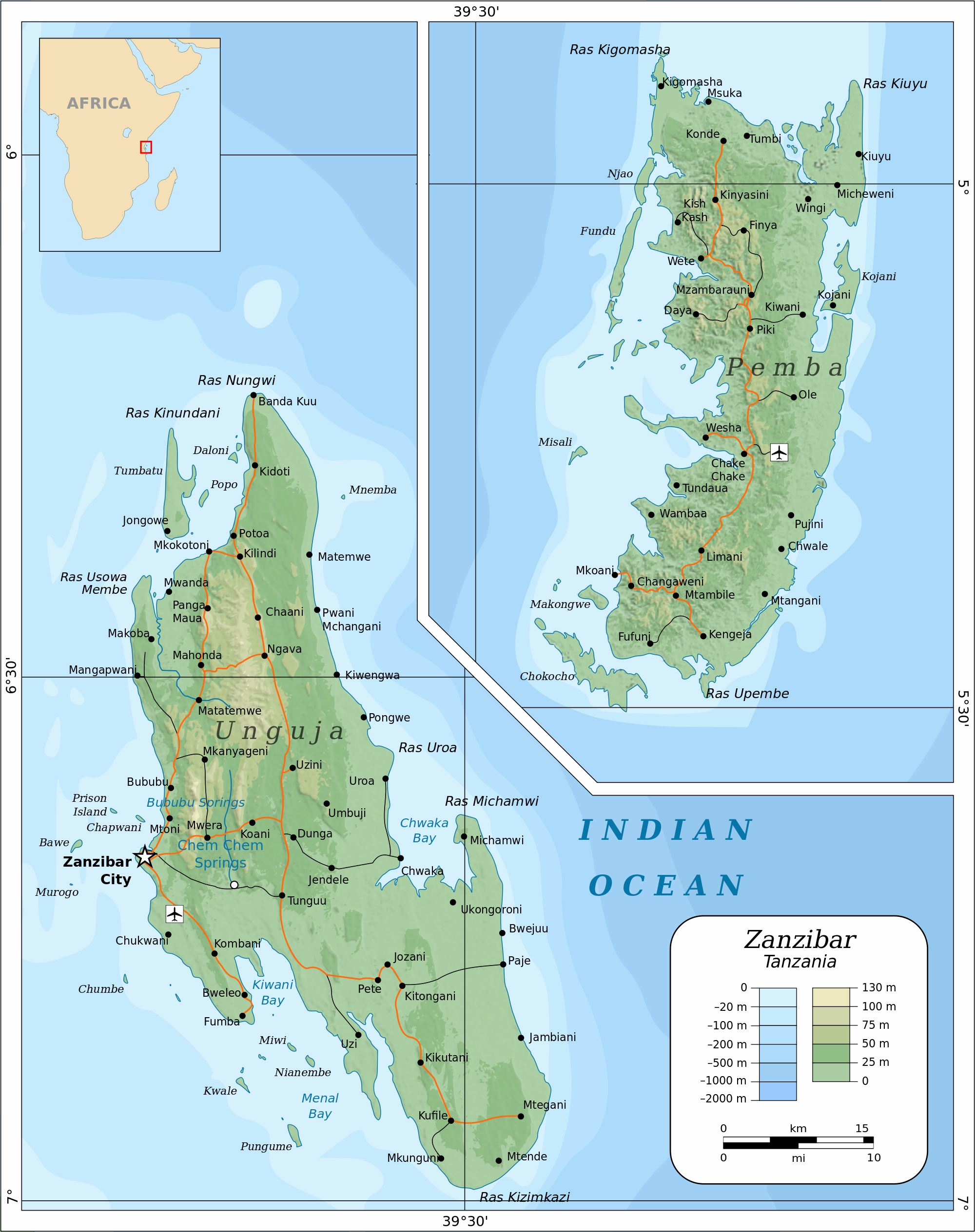 Large Zanzibar Island Maps For Free Download And Print High