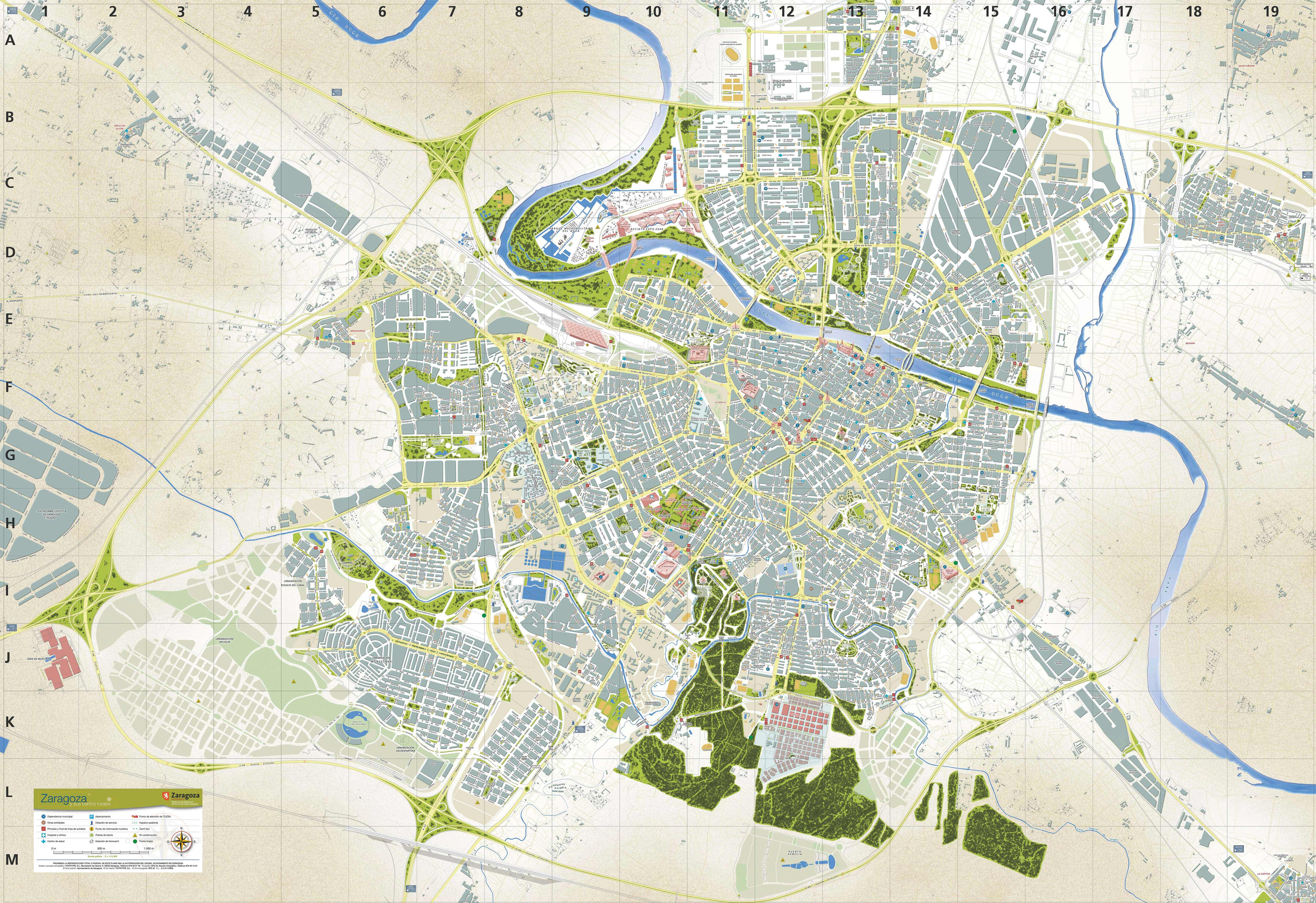 zaragoza mapa Large Zaragoza Maps for Free Download and Print   High Resolution  zaragoza mapa