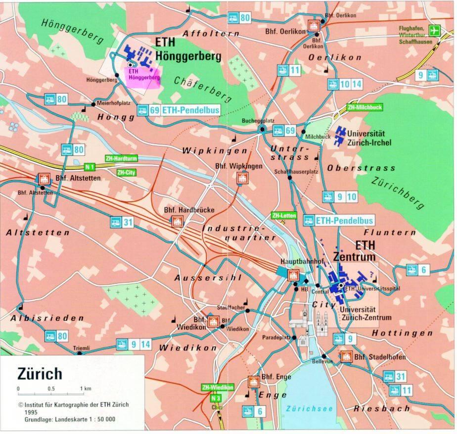 Stadtplan von Zürich | Detaillierte gedruckte Karten von Zürich