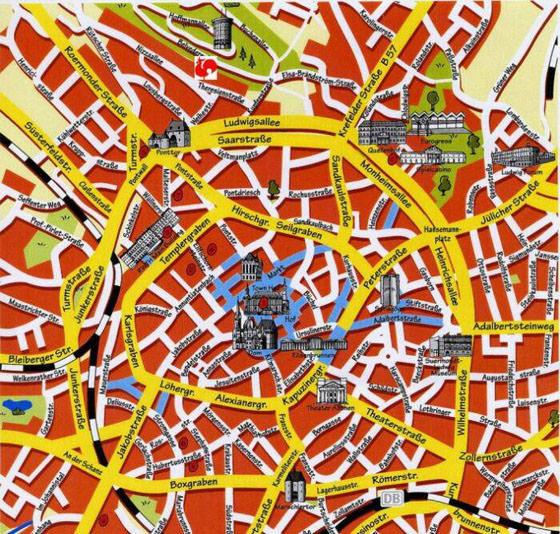 Stadtplan von aachen detaillierte gedruckte karten von for Designhotel oldenburg