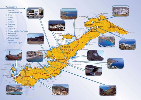 Detailed map of Amorgos Island 2
