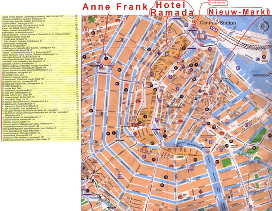 Detailed map of Amsterdam for print or download