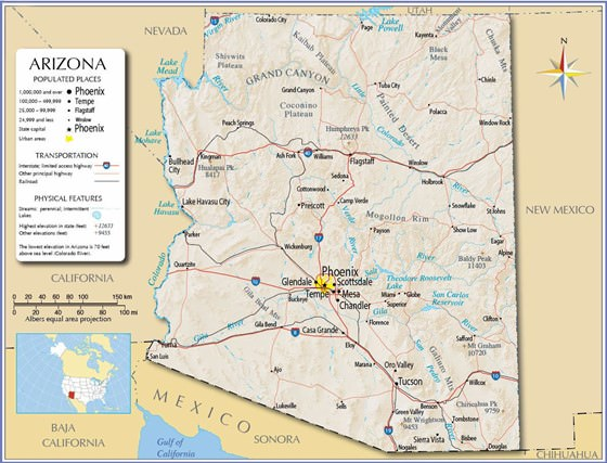 Karte von Arizona 1
