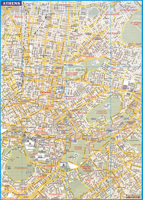 Detailed map of Athens for print or download