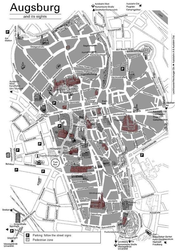 Karte von Augsburg 1