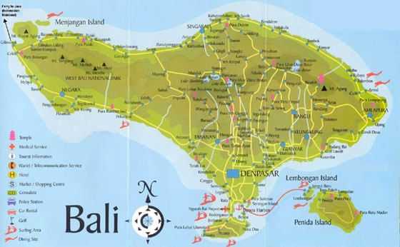 Detailed map of Bali 4