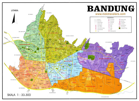 High-resolution map of Bandung for print or download
