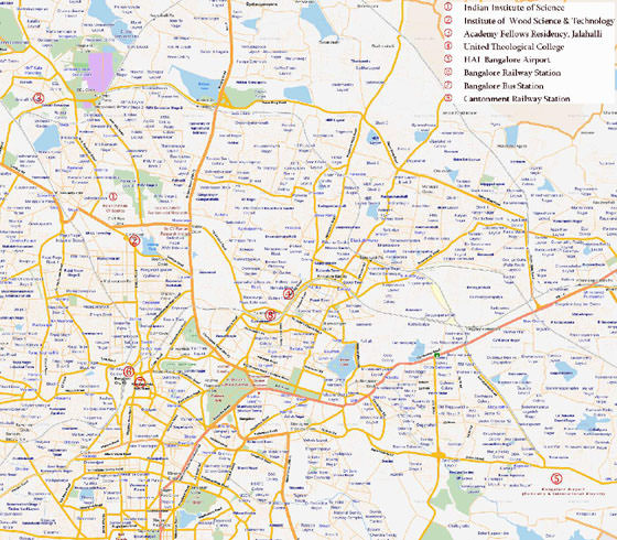 High-resolution map of Bangalore for print or download