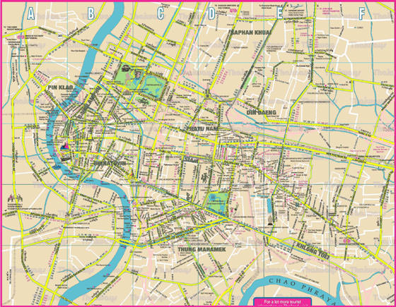 Detailed map of Bangkok for print or download
