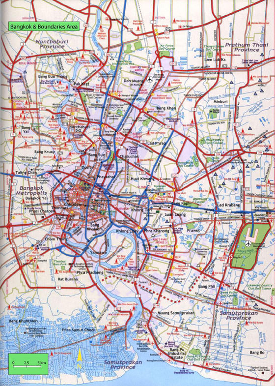 High-resolution map of Bangkok for print or download