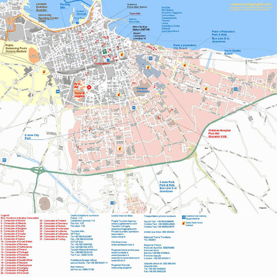High-resolution map of Bari for print or download