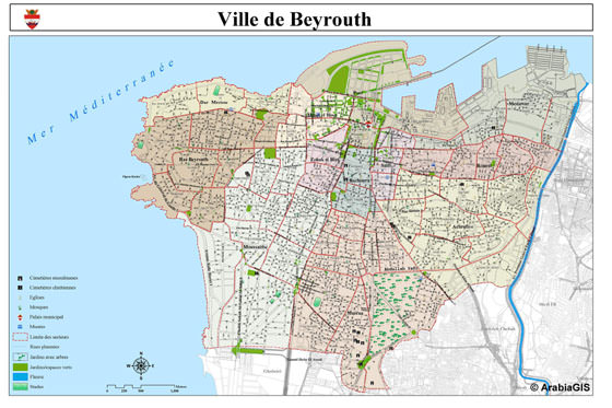 High-resolution map of Beirut for print or download
