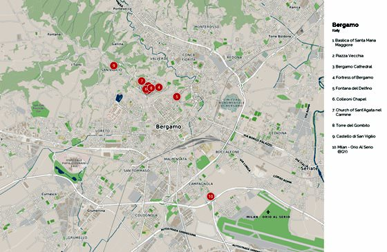Gedetailleerde plattegrond van Bergamo