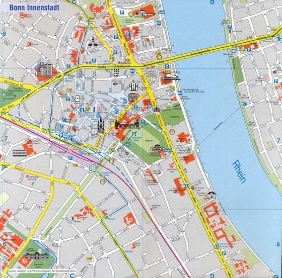 Bonn Karte.Stadtplan Von Bonn Detaillierte Gedruckte Karten Von Bonn