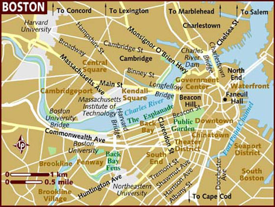 mapa de boston Large Boston Maps for Free Download and Print | High Resolution  mapa de boston