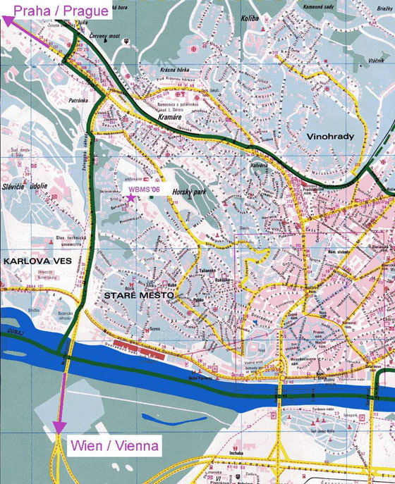 High-resolution map of Bratislava for print or download
