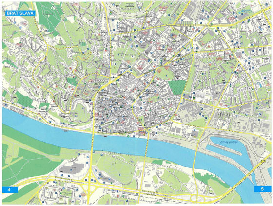 Detailed map of Bratislava for print or download