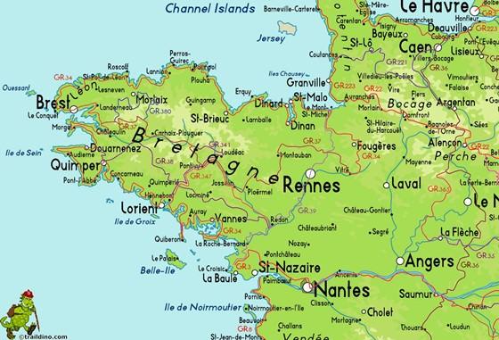 Detaillierte Karte von Bretagne 2