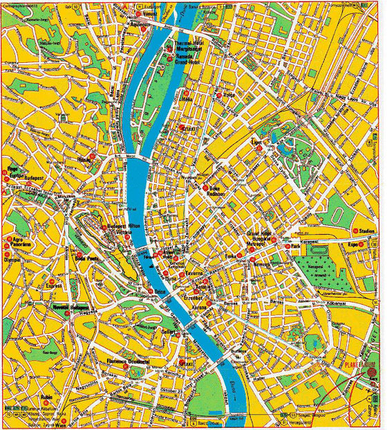 Detailed map of Budapest for print or download